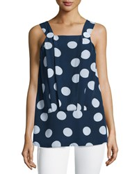 See By Chloe Sleeveless Pleated Front Top Navy