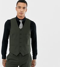 Heart And Dagger Skinny Suit Waistcoat Green