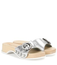 Marc Jacobs Leather Sandals Silver