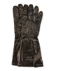 Red Valentino Lamb Leather Gloves Black Men's