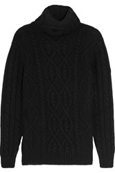 Tom Ford Cable Knit Cashmere Turtleneck Sweater Black