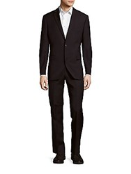 Saks Fifth Avenue Woolen Striped Suit Black