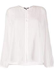 Luisa Cerano Long Sleeve Piped Detail Blouse White