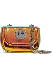 Hill And Friends Happy Tweency Holographic Textured Leather Shoulder Bag Orange