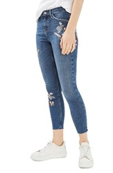 Topshop Women's Moto Jamie Embroidered Skinny Jeans