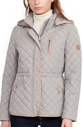 Lauren Ralph Lauren Women's Faux Leather Trim Quilted Anorak Summer Sage