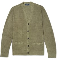 Polo Ralph Lauren Waffle Knit Linen And Silk Blend Cardigan Green