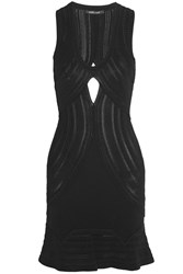Roberto Cavalli Backless Crochet Knit Mini Dress Black