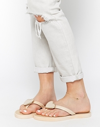 Truffle Collection Heart Toe Post Sandals Nude