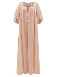 Thierry Colson Eva Drawstring Cotton Blend Maxi Dress Pink