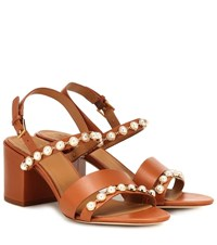 Tory Burch Emmy Embellished Leather Sandals Brown
