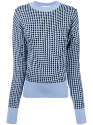 Marni Dogtooth Jumper Virgin Wool Viscose Polyamide Blue