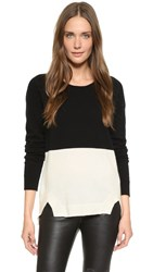 Rebecca Minkoff Vero Colorblock Cashmere Sweater Cream Black