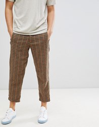 Selected Homme Wool Trousers In Tapered Cropped Fit Grid Check Dark Brown Melange