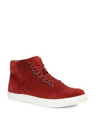 Gbx Slack D Ring Ali G Suede High Top Sneakers Red