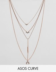 Asos Curve Multirow Bar And Charm Necklace Rose Gold Copper