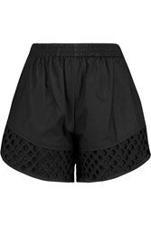Carven Broderie Anglaise Trimmed Cotton Shorts Black