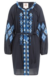 Figue Tula Embroidered Cotton Blend Tunic Blue