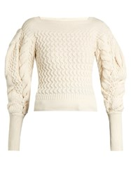 Christophe Lemaire Exaggerated Sleeve Cable Knit Sweater Cream