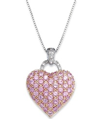 Macy's Pink Sapphire 2 1 4 Ct. T.W. And Diamond Accent Heart Pendant Necklace In Sterling Silver