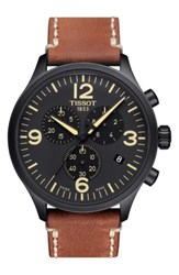 Tissot Men's Chrono Xl Leather Strap Chronograph Watch 45Mm Brown Black