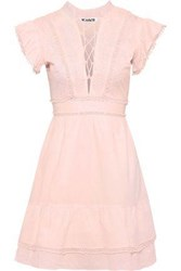 W118 By Walter Baker Woman Rudy Lace Up Embroidered Cotton Poplin Mini Dress Baby Pink