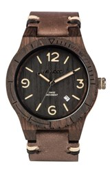 Wewood Men's Alpha Wood Leather Strap Watch 46Mm Brown