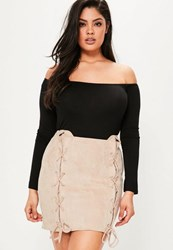 Missguided Plus Size Nude Faux Suede Lace Up Skirt