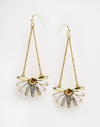 Little Mistress Stone And Chain Drop Earrings Gold
