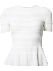 Narciso Rodriguez Striped Ruffle Knit Top White