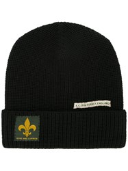 Kent And Curwen Patch Detail Beanie Wool Black