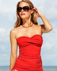 Anne Cole Twist Front Ruched Tankini Top Women's Swimsuit Lipstick Red