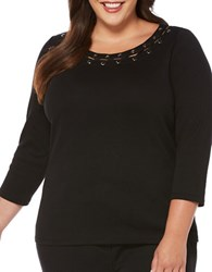 Rafaella Plus Three Quarter Sleeve Cotton Top Black