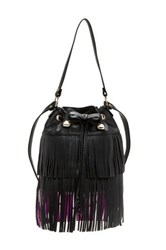 Betsey Johnson Fringe Party Bucket Bag Black