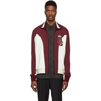 Dolce And Gabbana White Burgundy Logo Track Jacket