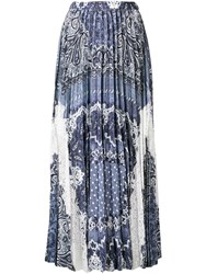 Ermanno Scervino Pleated Lace Panel Maxi Skirt Blue