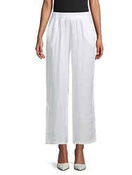 Saks Fifth Avenue Wide Leg Linen Pants White