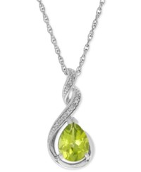 Macy's Peridot 1 3 4 Ct. T.W. And Diamond Accent Swirl Pendant Necklace In Sterling Silver