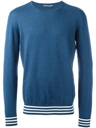 Ermanno Scervino Striped Trim Sweatshirt Blue
