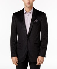 Tallia Men's Slim Fit Black Tonal Paisley Velvet Sport Coat