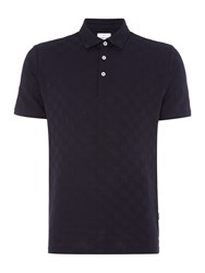 Peter Werth Men's Point Tonal Check Jersey Polo Shirt Navy
