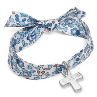Merci Maman Sterling Silver Personalised Cross Liberty Bracelet Blue