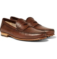 Tod's Burnished Leather Penny Loafers Brown