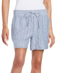 Lord And Taylor Chambray Striped Linen Shorts True Blue