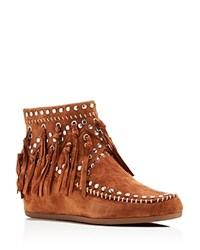 Ash Suede Fringe Studded Wedge Booties