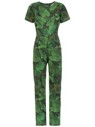 Isolda Printed Alexa Jumpsuit Green