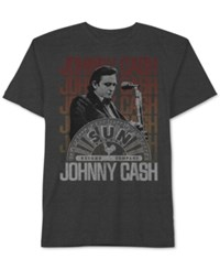 Jem Men's Big And Tall Johnny Cash On Stage Graphic Print T Shirt Charcoal Heather