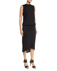Brunello Cucinelli Sleeveless Blouson Midi Dress W Monili Chain Back Black