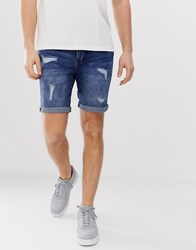Solid Regular Fit Denim Shorts With Rip And Repair In Blue Wash