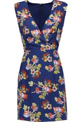 W118 By Walter Baker Dennis Floral Print Crepe Mini Dress Bright Blue